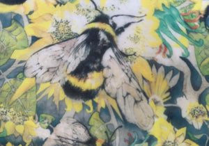 Poly Georgette - Tiny Bees (Bright) 1 meter remaining - PG_11