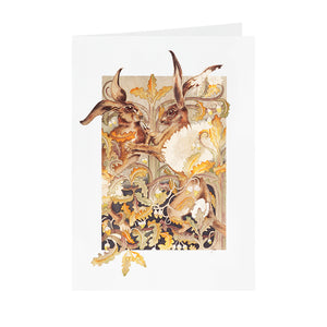 Hares in Wonderland - Boxing Hares - Greeting Card - V_02