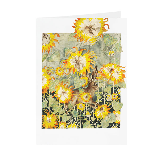 Hares in Wonderland - Sunflower & Hare - Greeting Card - V_13