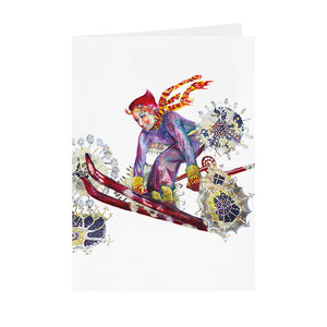 Christmas Skier - Greeting Card -V_28