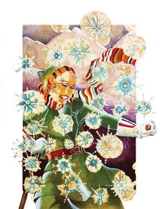Christmas Skier - Greeting Card - V_30