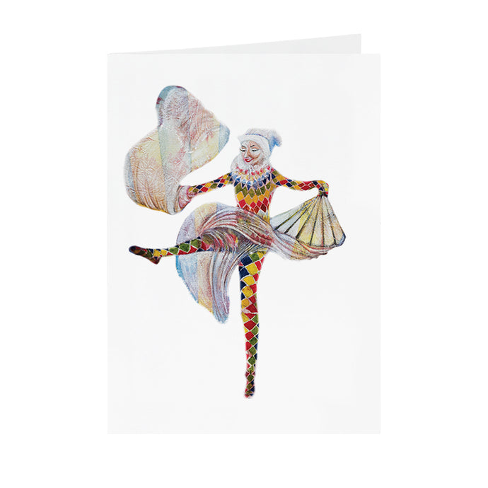 Circus Female Harlequin - Dancing Harlequin - Greeting Card - V_44