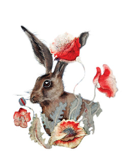 Hares in Wonderland - Poppies & Hare - Greeting Card - V_48