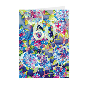 "Birthdays - ""60"" Hydrangea - Greeting Card - V_93"