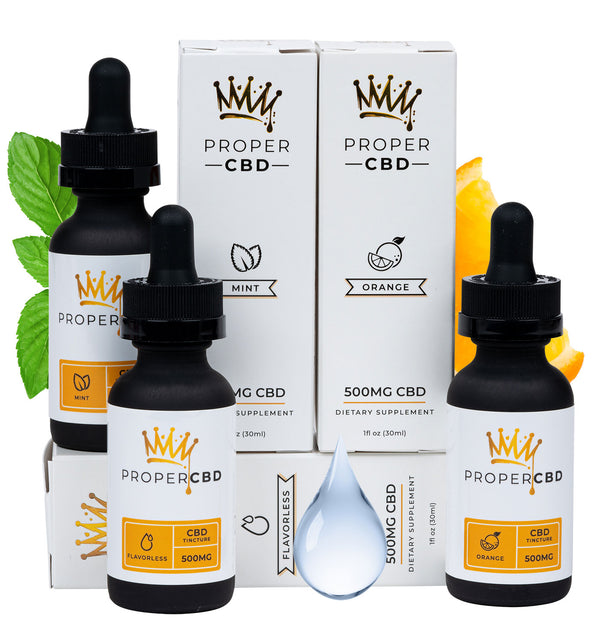 Tincture Set (500mg's each)- Flavorless, Orange, and Mint CBD