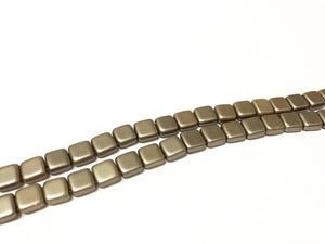 CZECH MATES 2-LOCH TILE 6MM, Farbe 09 GREY BROWN - bead&more