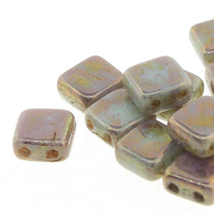 CZECH MATES 2-LOCH TILE 6MM, Farbe 26 BRONZE PICASSO OPQ PALE JADE - bead&more