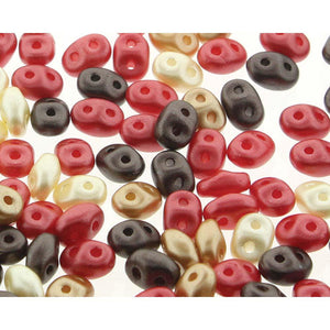 Superduo Matubo Glasperlen 2.5 x 5 mm Farbe 37 Chocolate CVRD Cherries Mix - bead&more