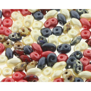 Superduo Matubo Glasperlen 2.5 x 5 mm Farbe 371 Old Glory - bead&more