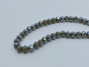 Facettierte Glasperlen Disc 6 x 4 mm, Farbe 222 olive metallic shine - bead&more