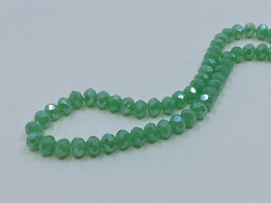 Facettierte Glasperlen Disc 6 x 4 mm, Farbe 251 green turquoise pearl shine - bead&more