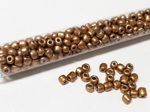 Rocailles Glasperlen ''Shabby'', 4mm, Farbe 12 warm gold metallic 7g / ca. 90 Stk - bead&more
