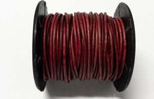 Lederkordel rund 1,5 mm, Farbe 14 natural red - bead&more