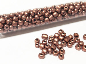 Rocailles Glasperlen ''Shabby'', 4mm, Farbe 19 light copper brown metallic 21g / ca. 250 Stk - bead&more