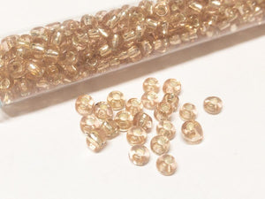 Rocailles Glasperlen ''Shabby'', 4mm, Farbe 20 rosy champagne silver lines 21g / ca. 250 Stk