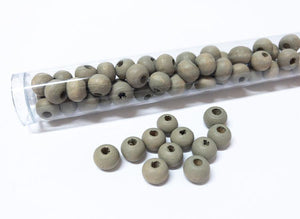 Perlen aus Holz, 6 mm, Farbe B29 stone grey - bead&more