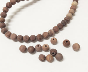Naturstein Perlen 6 mm - Farbe Matt Terracotta dark red - bead&more