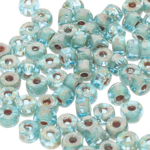 Matubo 6/0 3 Cut Glasperlen - Farbe Aquamarine Travertine Dark - bead&more