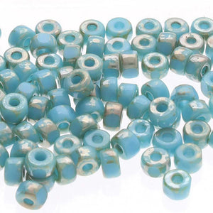 Matubo 6/0 3 Cut Glasperlen - Farbe Turquoise Blue Picasso - bead&more