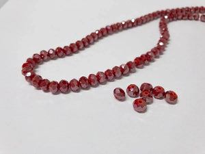 Facettierte Glasperlen Disc 6 x 4 mm, Farbe 03 siam red/pearl shine - bead&more