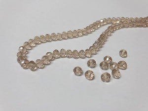 Facettierte Glasperlen Disc 6 x 4 mm, Farbe 06 champagne/diamond shine - bead&more