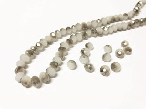 Facettierte Glasperlen Disc 6 x 4 mm, Farbe 18 white grey/chrome shine - bead&more