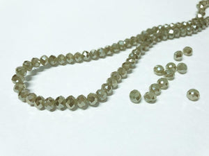 Facettierte Glasperlen Disc 6 x 4 mm, Farbe 22 pale olive/shine - bead&more