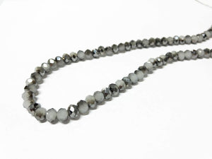 Facettierte Glasperlen Disc 6 x 4 mm, Farbe 31 light grey/chrome/shine - bead&more