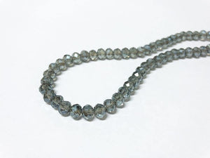 Facettierte Glasperlen Disc 6 x 4 mm, Farbe 32 light black diamond/montana/shine - bead&more