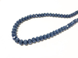 Facettierte Glasperlen Disc 6 x 4 mm, Farbe 36 denim blue/shine - bead&more