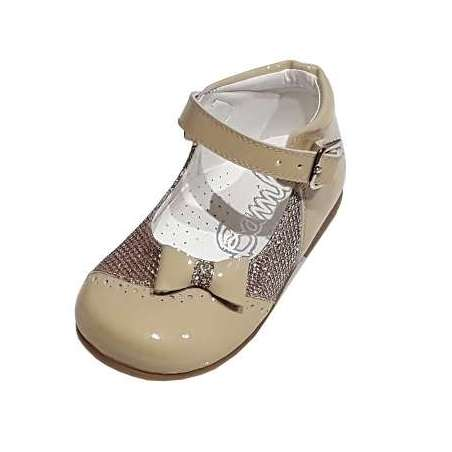 Sparkle and patent bow Mary-Janes (various colours)