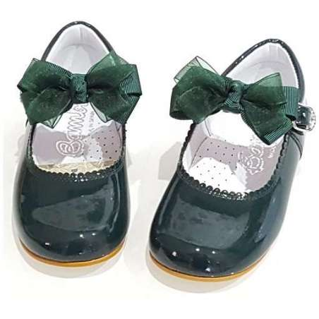 Crystal chiffon bow patent shoes (various colours)