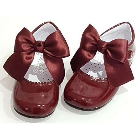 Satin bow patent buckle shoes (various colours)