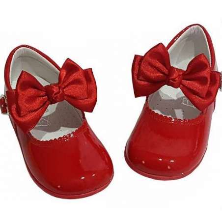Mary-Janes in patent with double bow (various colours)
