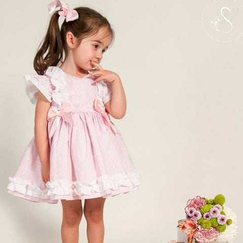 Selina pink heart print puffball dress