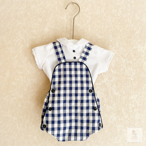 Charlie navy and white gingham romper set