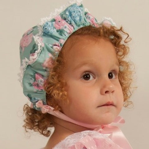 Zara blue and pink floral bonnet