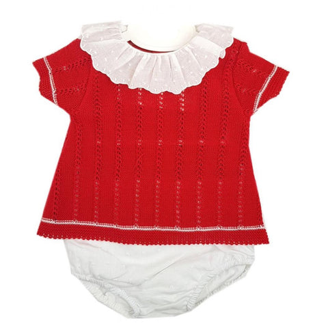 Alex red knit top and jam pants set