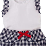 Cassie navy and white gingham twin set