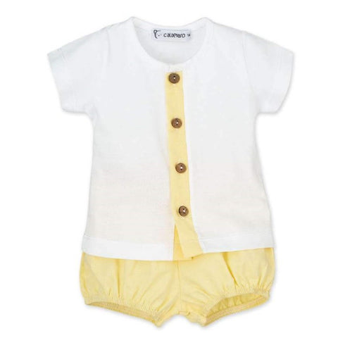 Arthur yellow round neck top and shorts set