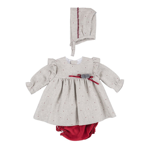 Ruby grey and maroon spotty baby dress set
