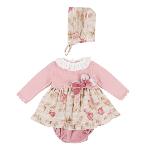Ava dusky pink leaf print dress set