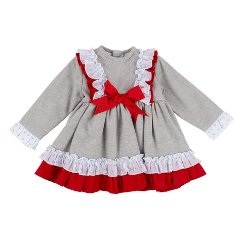 Olivia grey and red ruffle baby dress