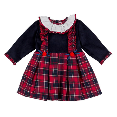 Ellina navy and red tartan girls dress