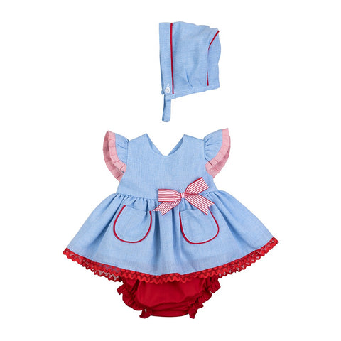 Casey blue and red peplum baby dress set