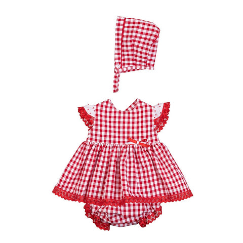 Lola red and white gingham dress set
