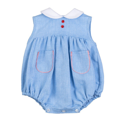 Reid blue and red peter pan collar romper