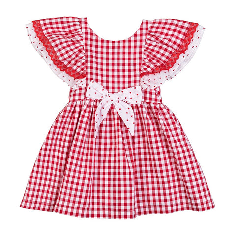 Ella red gingham girls dress with plumeti dot