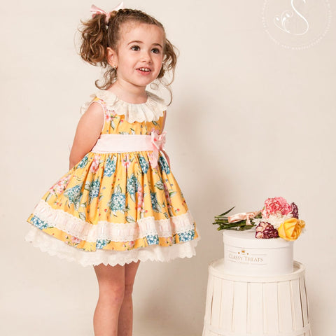 Felicity yellow floral puffball dress