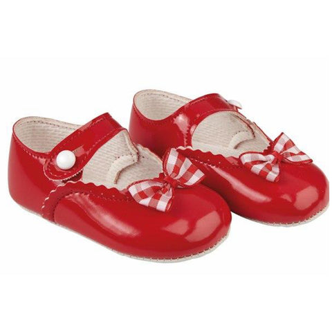 Red patent pram shoes with gingham bow